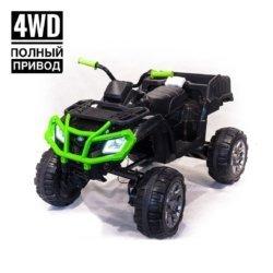 Электроквадроцикл Grizzly Next Т009МР 4WD черно- зеленый (АКБ 12v 10ah, колеса резина, сиденье кожа, пульт, музыка)